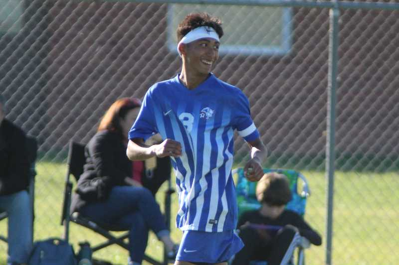 PMG PHOTO: ANDY DIECKHOFF - Madras senior Ethan Tapia had two goals in the Buffs' win over Corbett, per the official record. According to Tapia, however, he scored a third goal in the second half that was not included in the final scoreline.
