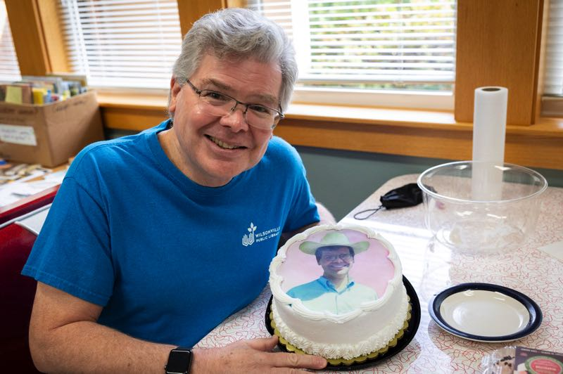 PMG PHOTO: JAIME VALDEZ - The staff at the Wilsonville Public Library made a cake for Library Director Pat Duke's retirement.