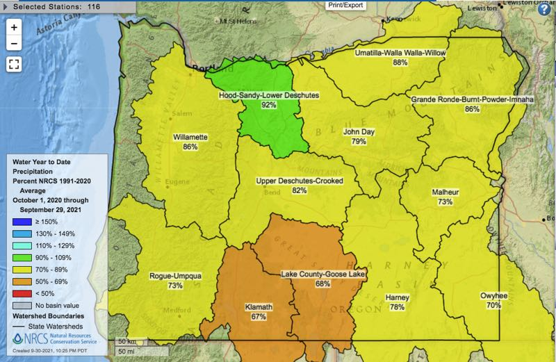 COURTESY GRAPHIC: NATURAL RESOURCES CONSERVATION SERVICE - The map shows  precipitation between Oct. 1, 2020, and Sept. 29 at 92% of average in the Hood, Sandy and Lower Deschutes region.