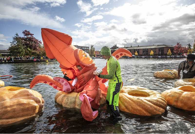 PMG FILE PHOTO - This is the second year in a row that the annual West Coast Giant Pumpkin Regatta is canceled due to concerns over the possible spread of COVID-19 in large outdoor venues where social distancing is impossible.