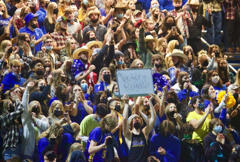 PMG PHOTO: CHRISTOPHER KEIZUR - The Barlow student section was raucous during a victory over their crosstown rivals.
