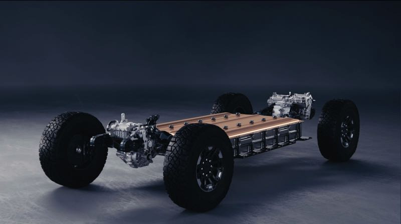 COURTESY PHOTO: GMC - Like other new EVs, the chassis platform of the 2022 GMC Hummer EV Pickup is a flat slab, with 24 Ultium battery packs located in the slab under the cabin, where they are protected on all sides and keep the HUMMER's weight down low.