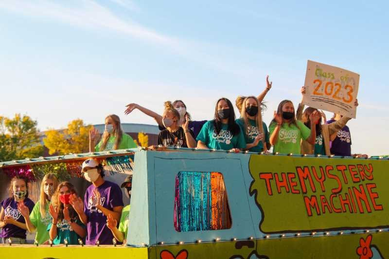 PMG PHOTO: MIA RYDER-MARKS - Wilsonville High School's junior class created a replica of the Scooby Doo Mystery Machine Van at the 2021 Homecoming parade.