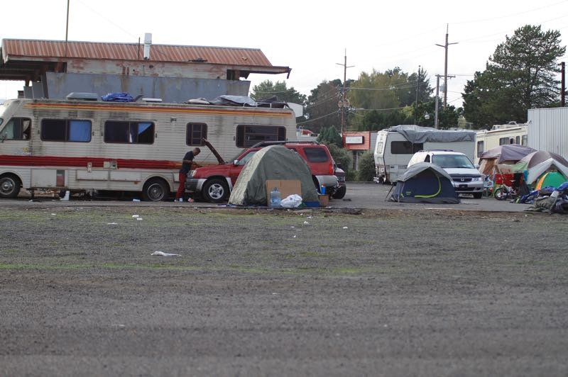 PMG PHOTO: WADE EVANSON - A Washington County-owned property on Southwest Baseline Road in Hillsboro where homeless people have established a large camp.