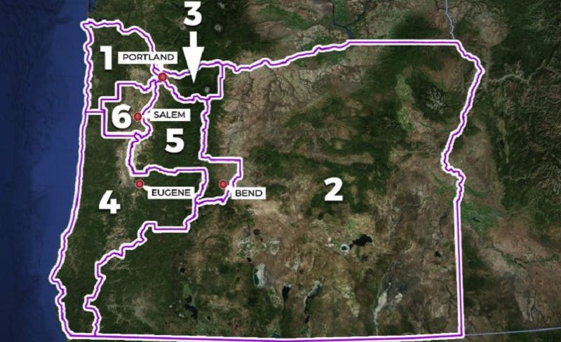 COURTESY GRAPHIC: KOIN 6 NEWS - The Portland area has a piece of four of the six new congressional districts in the redistricting map approved by Democrats at the Oregon Legislature and approved by Democrat Oregon Gov. Kate Brown.