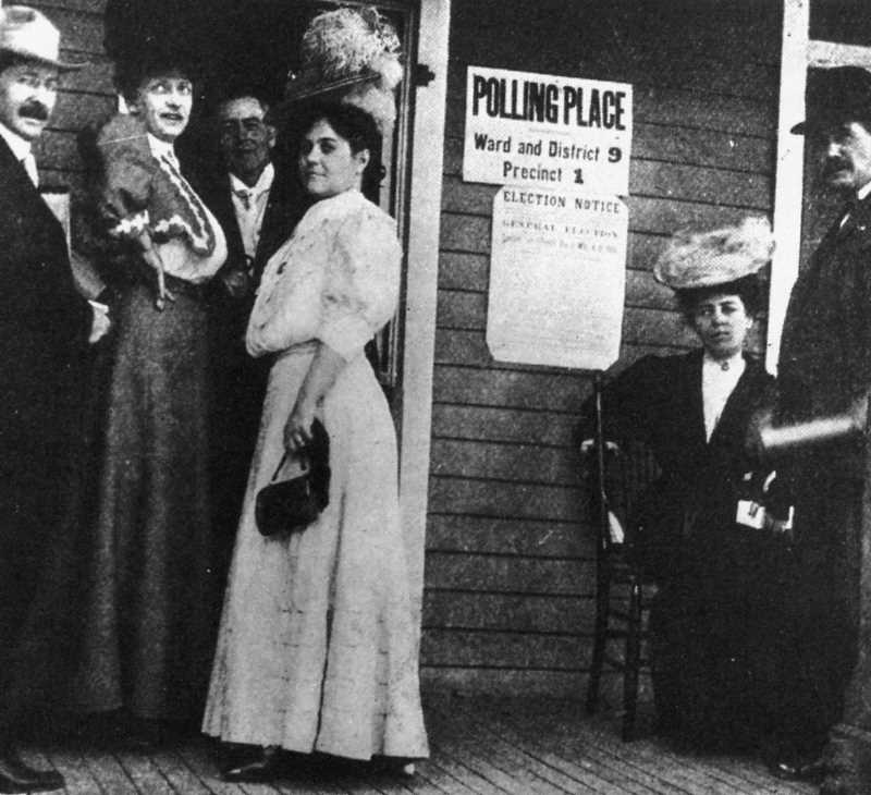 PHOTO COURTESY OF BOWMAN MUSEUM  - A women's suffrage vote takes place in Bend in 1912.