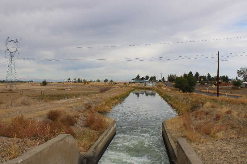 PMG PHOTO: PAT KRUIS  - Water returns to the North Unit canals, like this one along Bear Drive, this week and farmers will get deliveries from Oct. 6 through Oct. 20. Fall watering is vital for following summer production.