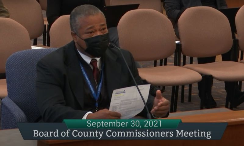 PMG SCREENSHOT: CLACKAMAS COUNTY - Health, Housing and Human Services Director Rod Cook presents the food drive results to commissioners.