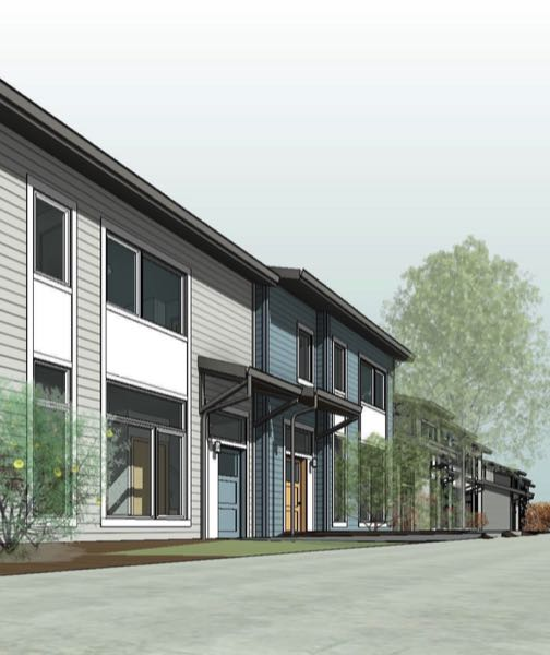 COURTESY HABITAT FOR HUMANITY - A rendering shows the design of several buildings planned for the Foster Townhomes project in Portland.