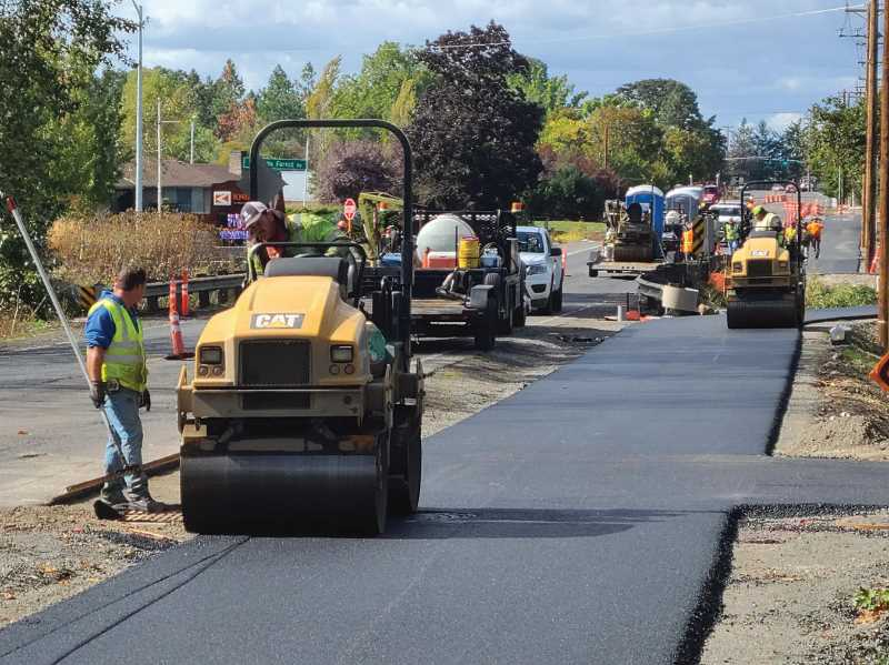COURTESY PHOTO: CITY OF MOLALLA - Paving on a section of the project began this week in Molalla.