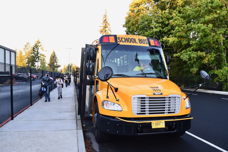 PMG PHOTO: BRITTANY ALLEN - Due to a lack of drivers, students are often sitting less distanced than recommended on school buses in the Oregon Trail School District, with ODE's blessing.