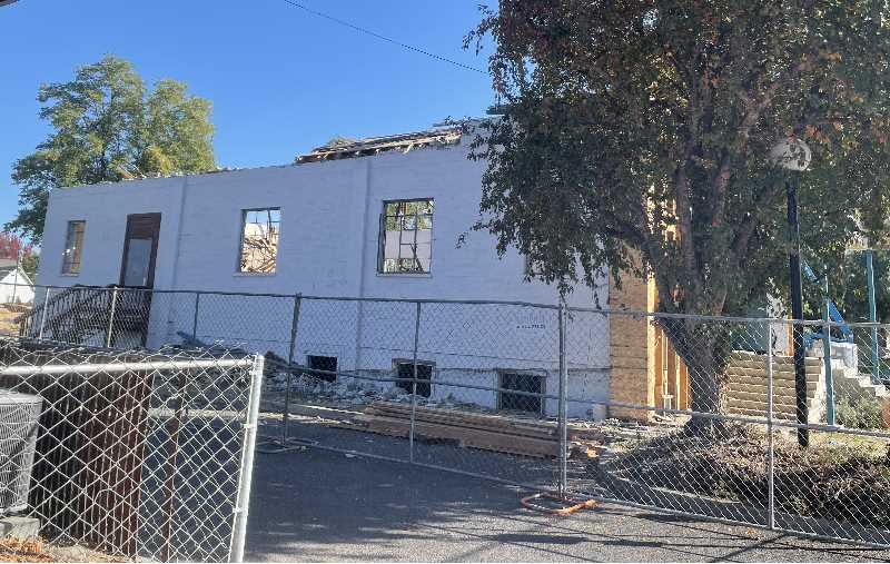 PMG PHOTO: HOLLY SCHOLZ - Before H&H Construction began tearing down the annex building, Jefferson County Fire District No. 1 firefighters used the building for training.