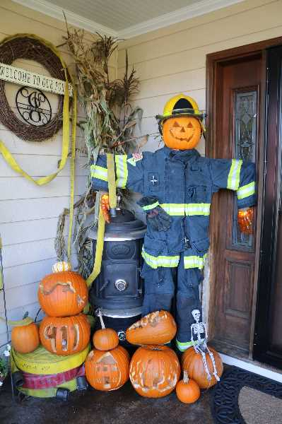 COURTESY PHOTO: CITY OF WOODBURN - 'Halloween Hero' took third place in Woodburn's 2020 scarecrow decorating contest.