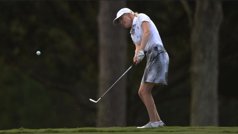 COURTESY PHOTO: KATHRYN RILEY/USGA - Lara Tennant points to her short game as one key to her success in match-play competition, which carried the Portland woman to a third consecutive U.S. Senior Womens Amateur in September at The Lakewood Club in Point Clear, Alabama.