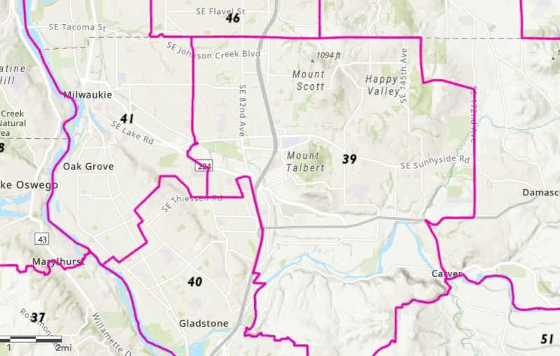 MAP COURTESY: OREGON LEGISLATURE - If this newly approved map stands up to legal challenges, Happy Valley will have one state representative that it shares only with the area east of Milwaukie including the Clackamas Town Center.