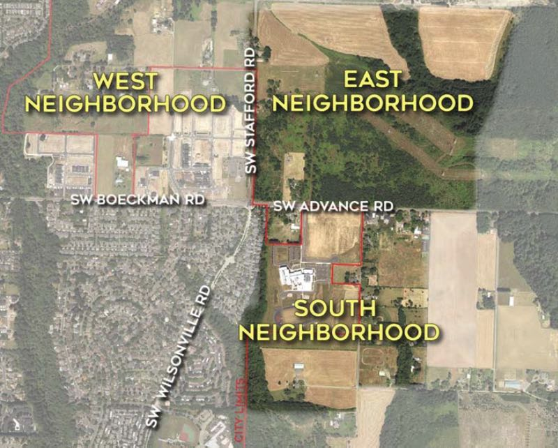 COURTESY PHOTO: CITY OF WILSONVILLE - This map shows where the two new neighborhoods are located in relation to Frog Pond West and the rest of Wilsonville.