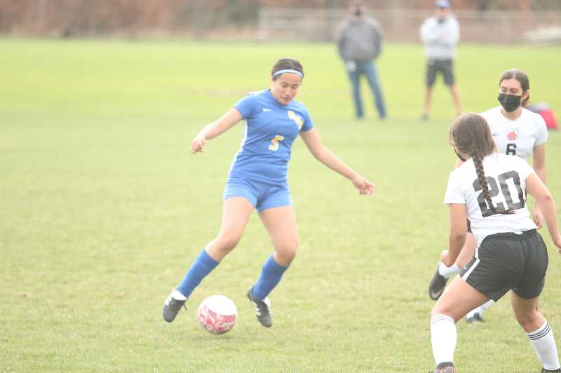 PMG PHOTO: TANNER RUSS - Gervais senior Valeria Montiel scored the teams lone goal against the visiting Taft Tigers.