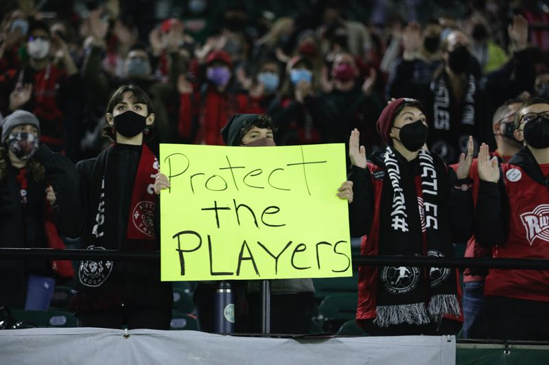 PMG PHOTO: JONATHAN HOUSE - At the Portland Thorns Oct. 6 match against Houston, fans expressed their opinion that players in the National Women's Soccer League need protection from abusive coaches.