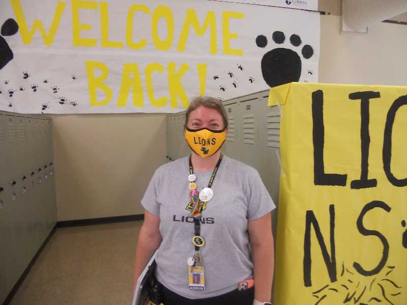 PMG PHOTO: SCOTT KEITH - St. Helens High School principal Katy Wagner at the September start of the new school year.