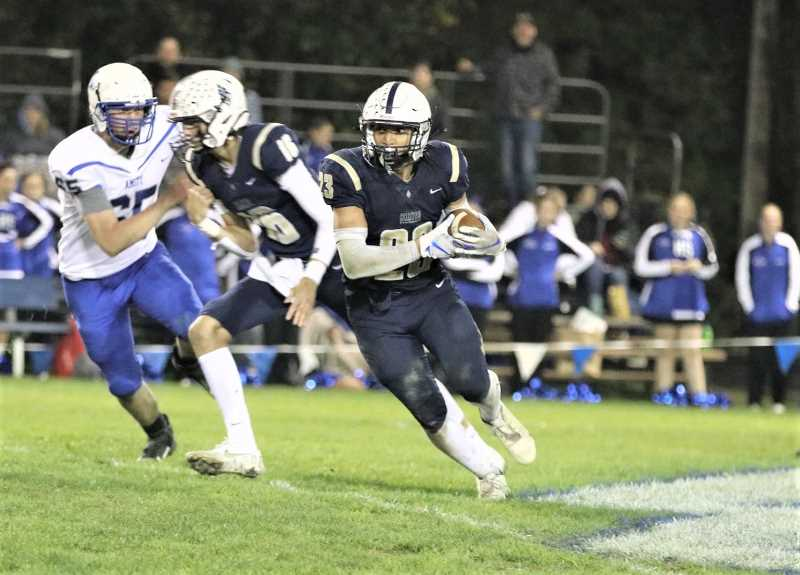 COURTESY PHOTO: STEWART MONROE - Banks' Daevon Vereen carries the ball during the Braves' win over Amity Friday night, Oct. 8, at Banks High School. Banks hosts Seaside this Friday night.
