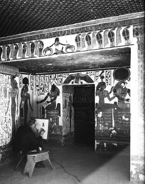 COURTESY PHOTO: PORTLAND ART MUSEUM - Here is an archival photo of the east wall of the alcove of Queen Nefertari tomb, and an artist painting, after the tomb discovery in 1904.