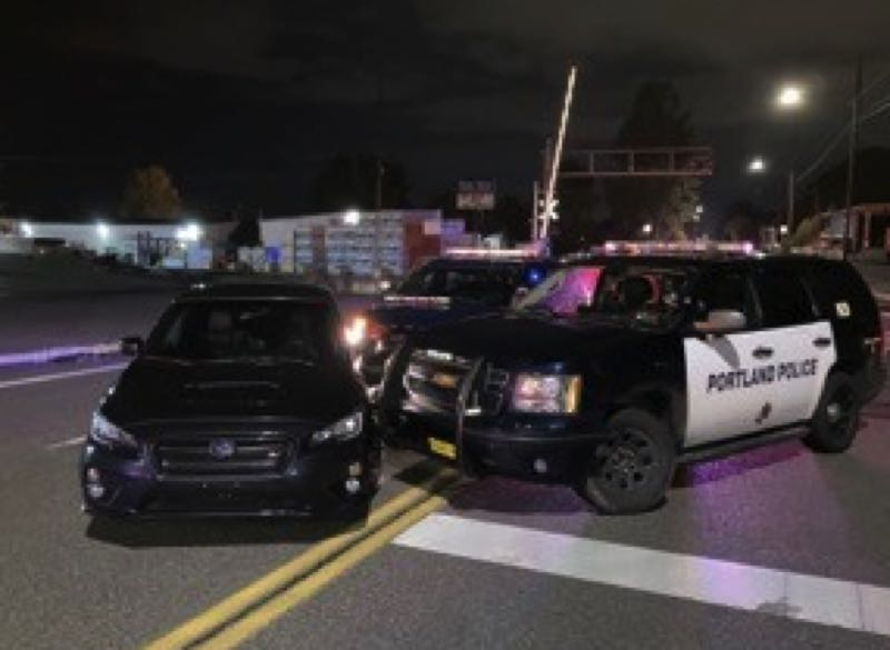 COURTESY PHOTO': PPB - Portlnd police seize a car during an illegal race.