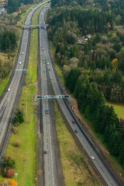 ODOT PHOTO - A section of Interstate 205 being prepped for tolling by the Oregon Department of Transportation.