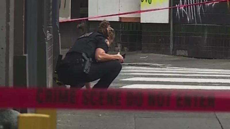 COURTESY PHOTO: KOIN 6 NEWS - Portlnd police at a shooting schene.