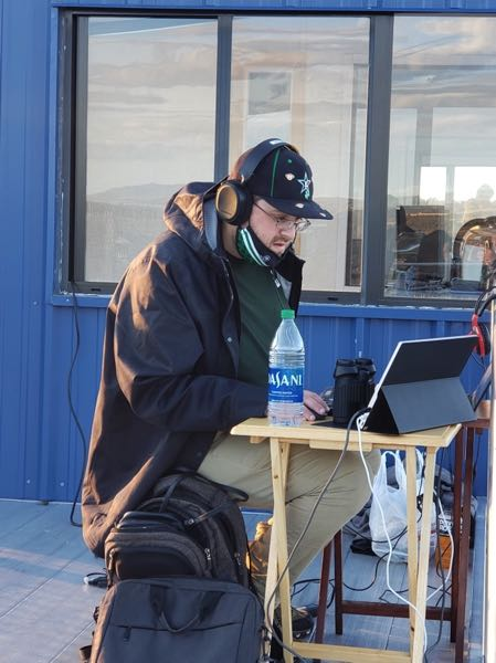 COURTESY PHOTO: LANE JENSEN - Lane Jensen, a 2005 graduate of Estacada High School, can often be found broadcasting Ranger sports games for community members who are unable to attend.