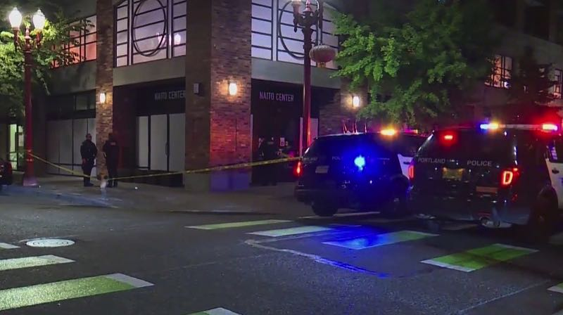 CONTRIBUTED PHOTO: KOIN 6 NEWS - Police responded to a shooting at Northwest 4th and Flanders in Old Town on Oct. 9.
