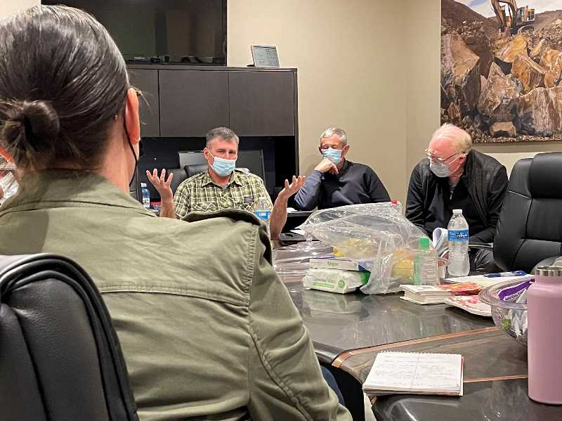 PMG PHOTO: PAT KRUIS  - Farmers make their case to ODA Director Alexis Taylor (back to camera) that years of drought and the heat dome created disaster conditions in Jefferson County worthy of disaster relief funding from the state.