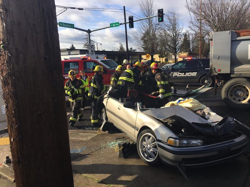 COURTESY PHOTO: HILLSBORO FIRE & RESCUE - First responders at the scene of a fatal crash at Southeast Baseline Street and South First Avenue in Hillsboro on Nov. 25, 2019.