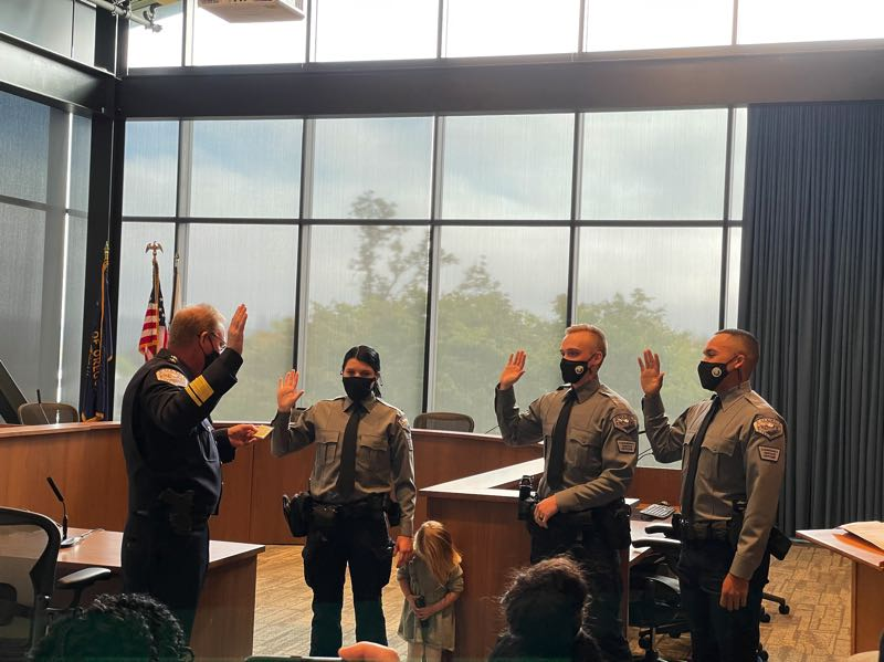 COURTESY PHOTO: TOM HAMANN - Three new community service officers are sworn in.