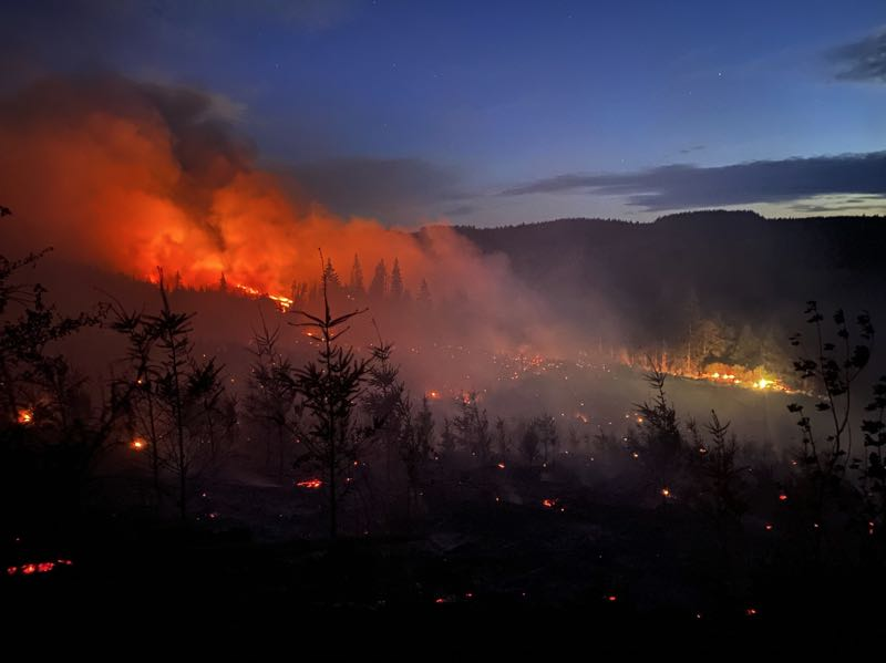 COURTESY PHOTO: SCAPPOOSE FIRE DISTRICT - Wildfires like the Alder Creek Fire of 2021, have become increasingly common. The Oregon Department of Transportation is contuing to clean up Oregon's roadways that were impacted by wildfire events.