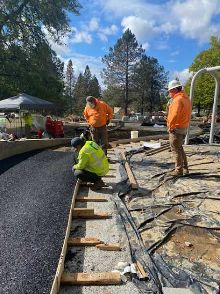 COURTESY PHOTO: PORTLAND PARKS & RECREATION - A crew sets up a retaining wall at Gabriel Park in Southwest Portland during a long construction project that will see a new, 10,000-square foot playground.