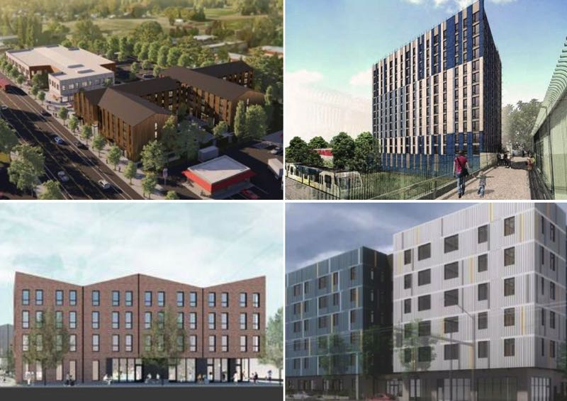 COURTESY PHOTOS: PORTLAND HOUSING BUREAU - CLOCKWISE FROM LEFT: Renderings for the PCC Killingsworth, hollywoodHUB, 74th & Glisan and 5020 N. Interstate affordable housing projects are shown here.