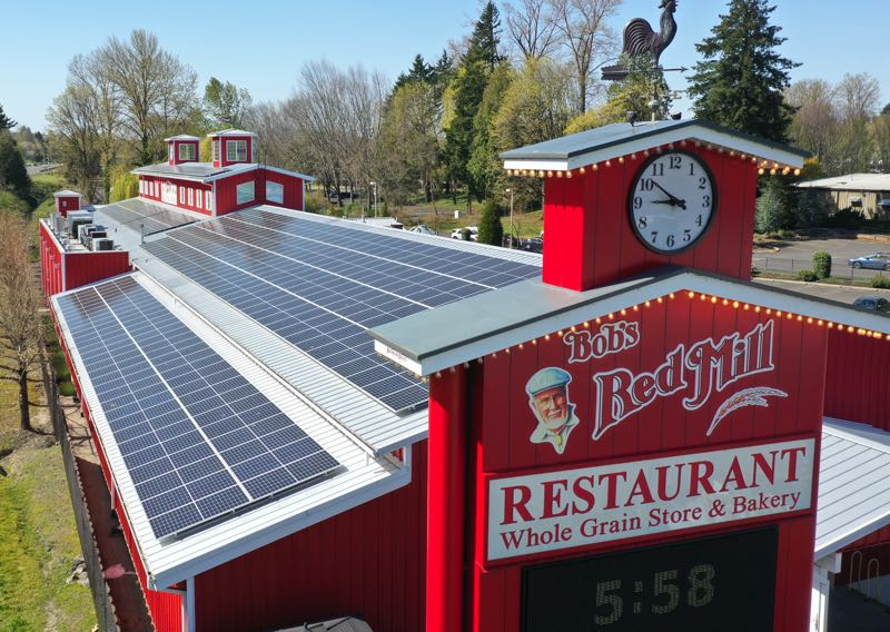 COURTESY PHOTO: BOB'S RED MILL - A 120 kW solar panel system lines the roof of the Bob's Red Mill Whole Grain Store & Bakery in Milwaukie.