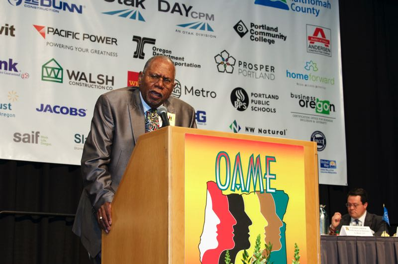 COURTESY PHOTO: OAME - Sam Brooks, founder of Brooks Staffing, and founder and chairman of OAME's board of directors, addresses the crowd at the 2019 conference. This year's conference will be virtual.