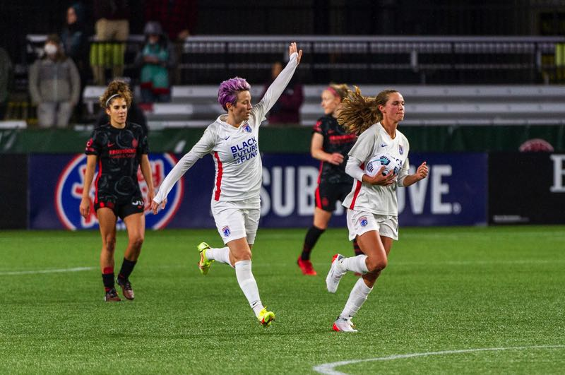 PMG PHOTO: DIEGO G. DIAZ - Megan Rapinoe reacts after converting a controversial late penalty kick to earn OL Reign a 1-1 draw with the Portland Thorns on Wednesday, Oct. 13 at Providence Park.