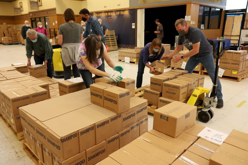 Church donations stock local pantries with food