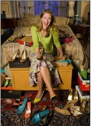 "by: ©2007 OWEN CAREY, In ""Bad Dates"" Carol Halstead shows that singles may not get the romance but they'll certainly earn the shoes — lots of shoes."
