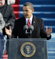 "by: PHOTO COURTESY OF GETTY IMAGES, In his first speech as U.S. commander-in-chief, President Barack Obama encouraged the masses to ""begin the work of remaking America"" at his inauguration Tuesday."