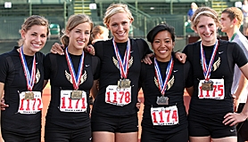by: Miles Vance, TOP HAWKS - Southridge's (from left) Taylor Hunt, Kelsey Hones, Chloe Steinbeck, Trinna Miranda, Lainey Nash and (to pictured) Tiara Prince helped their team win its first-ever state track title on Saturday.