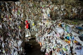 by: CHRISTOPHER ONSTOTT Catalina Cruz sweeps up paper and debris near stacks of paper, bundled according to various grades for future resale, after they were sorted at the Far West Fibers materials recycling facility in Hillsboro.