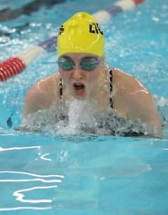 by: Kevin Alvarez TWO FIRSTS—St. Helens' Jackie Prevish won the 100 breastroke (above) and the 50 freestyle in Thursday's meet with Wilsonville.