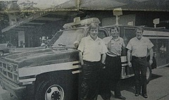 by: ARCHIVE PHOTO - 1984: Estacada Fire Chief Dan Burke (right) stands with Assistant Chief Barry Jennings and Alan Hull before the fire department's brand new 1984 rescue rig.