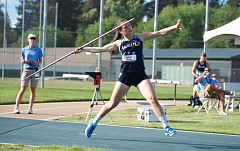 by: COURTESY WESTERN WASHINGTON ATHLETICS - Sandy High graduate Bethany Drake heads down the runway during her winning effort in the javelin at the NCAA Division II national meet last month.