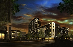by: GBD ARCHITECTS - If you worked here youd be home now: Residential development is finally on its way to the Lloyd District. A rendering, looking east, of Hassalo on Eighth, a three building retail and apartment complex slated to open fall 2015.