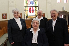 by: SUBMITTED PHOTO - Sister Barbara Jean Laughlin, Sister Evelyn Schwall (seated), Sister Ina Marie Nosack and Sister Lawdean Lamberger are four of six Sisters of St. Mary of Oregon who will celebrate Jubilees this year and be honored during a special Mass on Sunday.