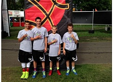 by: SUBMITTED PHOTO - From left to right: Nate Overholt, Jack Roche, Grant Irby and Jack Gatto. The Dubtown Wildcats won their fourth consecutive Hoopfest title. This time around, they conquered the eighth grade bracket.